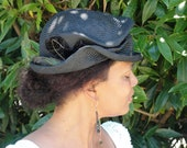 Pill Box -Black Straw Hat- New Hand Blocked-1910's-1920's Vintage Inspired Demi Cloche--Vintage Trim-CUSTOM ONLY