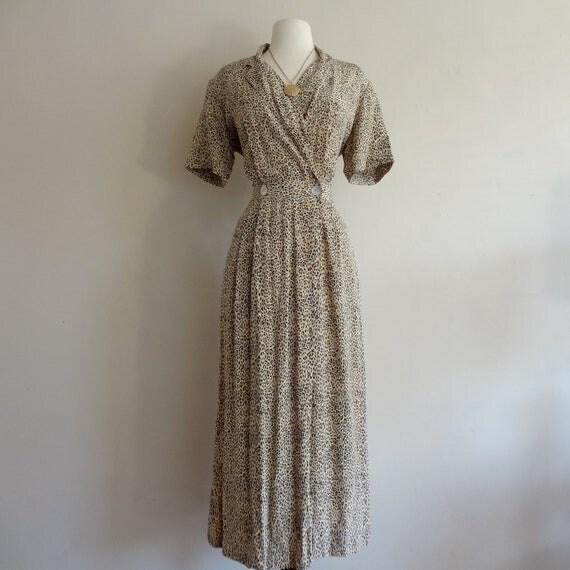 maxi dress / 90's leopard print silk dress / animal print safari / women dress medium m