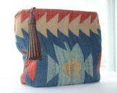 Country Western Navajo Aztec Wool Hangbag Purse Leather Strap Detail Red Blue Tan Brown