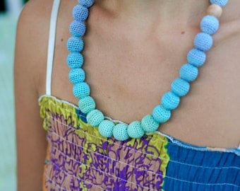 Nursing necklace - All natural  necklace Boho chic crochet  Breastfeeding babywearing necklace - in mint green, turquoise and lilac