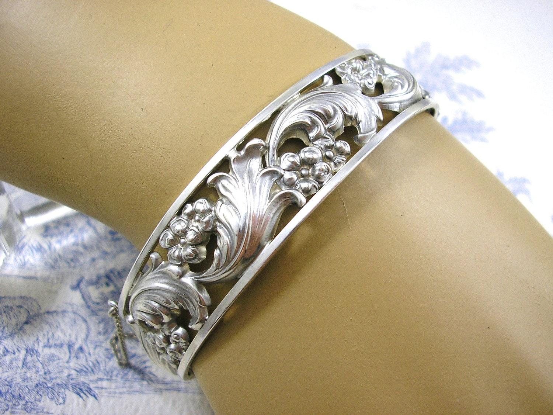 art deco silver bangle jugendstil antique bracelet floral. Black Bedroom Furniture Sets. Home Design Ideas