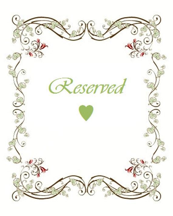 Reserved for Rebekah