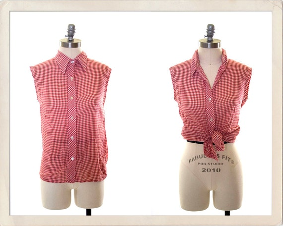 vintage 60s gingham top // red and white pinup blouse