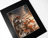 DARK CAROUSEL: 11x14 Matted Signed Art Print - 8x10 gothic halloween fairytale illustration