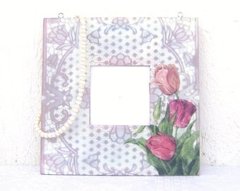 Dust Purple Tulips Wooden Hanging White  Lace Decorative Mirror Home Wall Decor