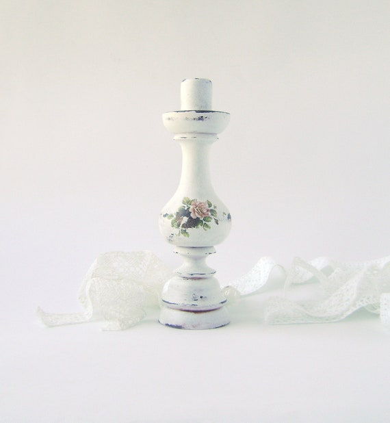 French Country White Shabby Chic Wooden  Distressed  Candle Stick Holder  Beach Cottage Paris French Country Farmhouse Home Decor