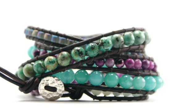 RESERVED for SUSAN - African Turquoise leather wrap bracelet, Sterling Silver handcrafted button. Boho Chic.