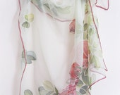 Hand painted Silk chiffon scarf Wedding accessories Red roses hand dyed - made TO ORDER - DEsilk