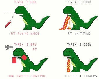 Cross Stitch Patterns -- T-Rex Set 2 -- 4 patterns of T-Rex and flying discs, knitting, air traffic control and building blocks