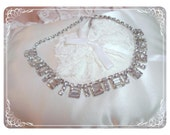 Baguette Rhinestone Necklace - Ice Clear Prong Set Stones   1172ag-012312000