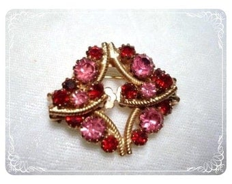 Petite Pink & Red Rhinestone Brooch w matching Earrings  1865ag-012312000