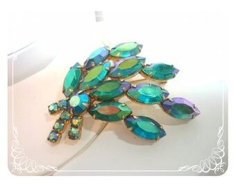 Irridescent Turquoise Green Brooch w/ Marquis Rhinestones   Pin-1378a-41100000