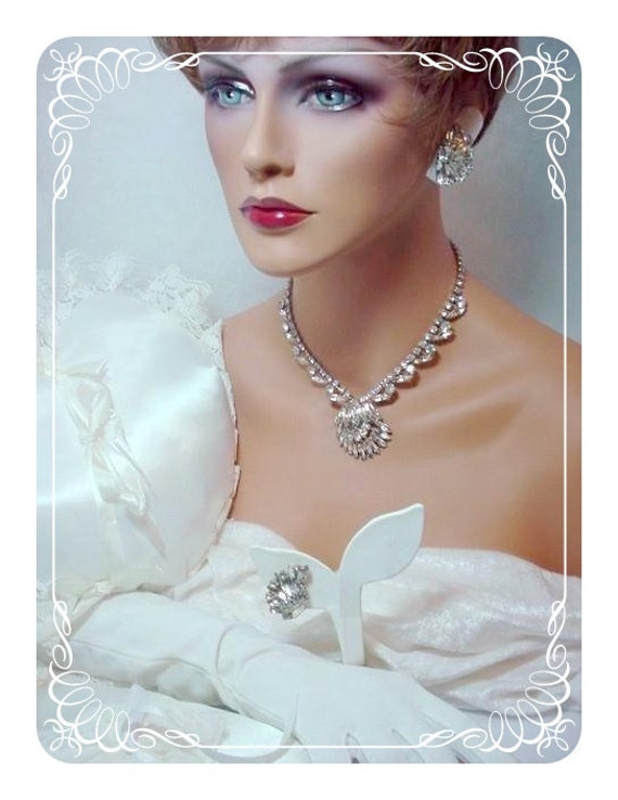 Brides Necklace & Earrings - Domed Rhinestone Fan Set  1985ag-012312000
