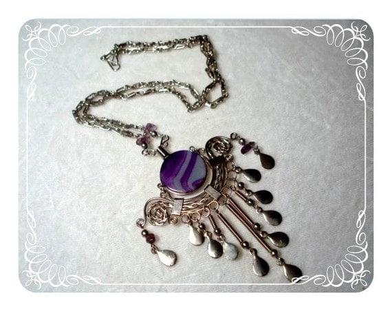 Delicious Peruvian Necklace w Purple Glass   1291ag-40510000