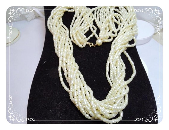 White Pearlescent Baroque Bead Necklace - Twelve Strand -   1522-040810000