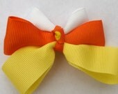 Candy corn hair bow- yellow orange and white hair clip- halloween accessory