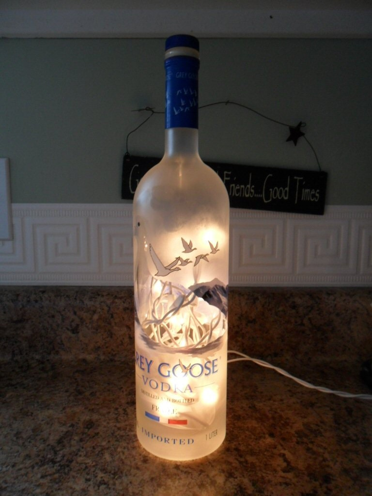 Bottle With Lights Grey Goose Great Bar Decor by BottleCrafters