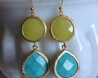 Small Double Drop Bridesmaids Earrings, Color Block Stone Drop Earrings, Two Tone Stone Earrings, Bridesmaid Earrings