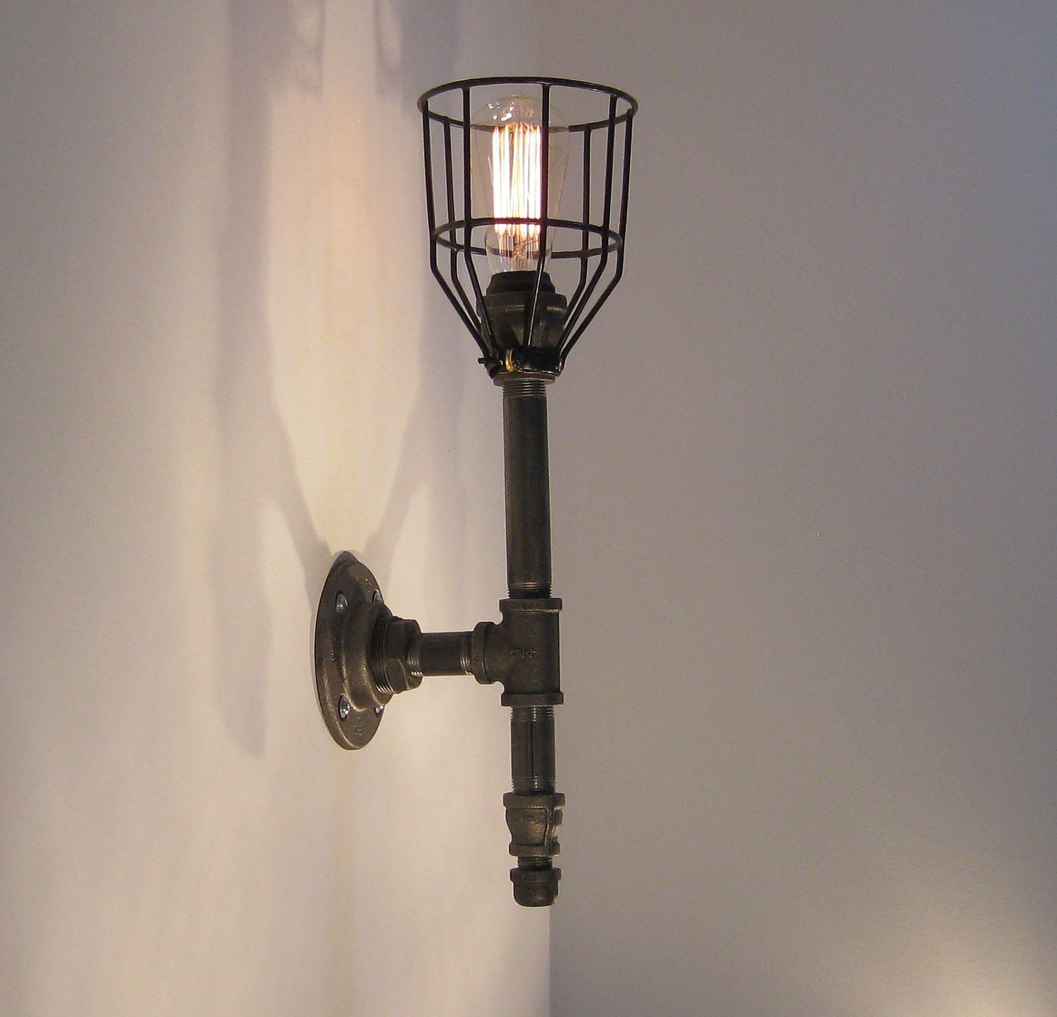 Industrial Iron Wall Sconces : Wall Sconce: Black Malleable Iron Industrial Steampunk