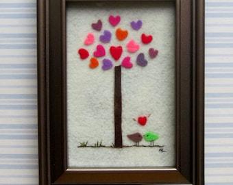 OOAK Heart Tree Birds Felt Art Frame