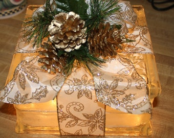 Night Light Gold Pine Cones and Decorated with Gold Ribbon