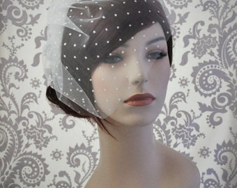 Ivory Bird cage Veil, Polka Dot Veil, Tulle Birdcage Veil with polka dots, retro ivory veil bridal accessories