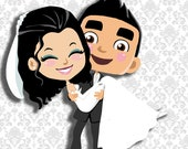 digital artwork of a wedding invite or save the date cartoons