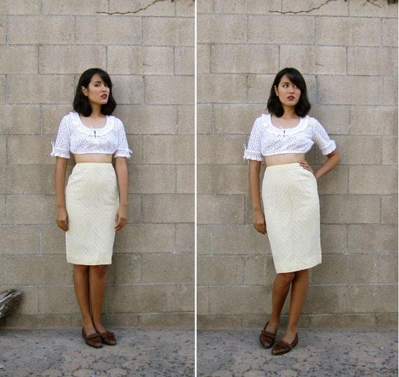 1960s skirt/ eyelet lace skirt/ vintage pencil skirt XS-S