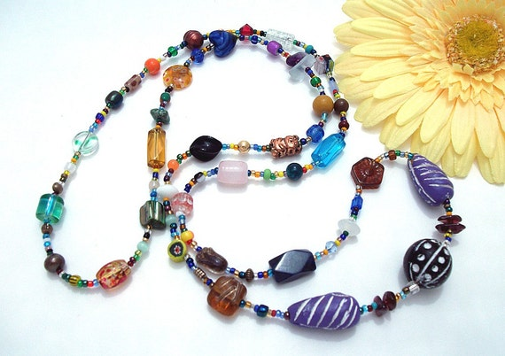 Toss On Long Necklace, Size 2, Multi Color with Glass, Ceramic, Clay, Semi-precious, Copper, Shell, and Metallic Beads