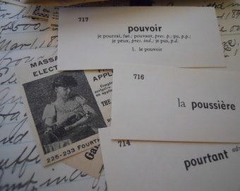 Vintage French Flash Cards Vocabulary Words Language Phrases 2 Dozen