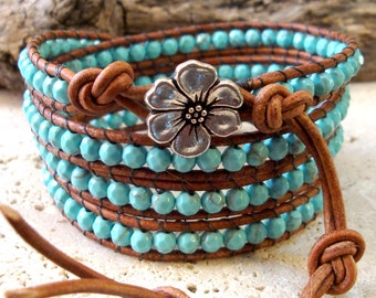 Faceted Turquoise Gemstone Beaded Leather 4-Wrap Bracelet