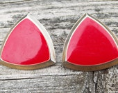 Vintage Red Triangle Stud Earrings