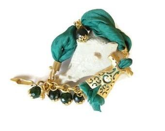 Green Turkish Silk Bracelet,Turkish Caftan Bracelet,Turkish Jewelry,Gold Bracelet,Green Agate Bracelet,Elegance Bracelet,Mother's Day gifts