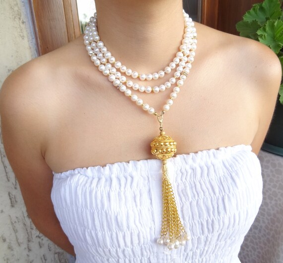 Reserved Wedding Necklace - Pearl Necklace with Gold Plated - Bridal Necklace-free shipping