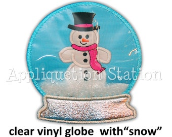 In the Hoop - 3D VINYL Snow Globe Snowman Applique Machine Embroidery Design Snowglobe INSTANT Download