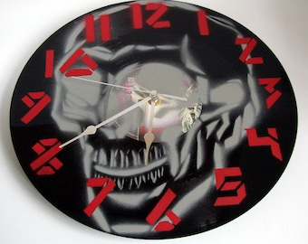 "Recycled Vinyl Record Clock made from original 12"" Iron Maiden vinyl Handpainted Graffiti Style by artist Ben Allen"