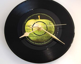 "John Lennon Vinyl Record CLOCK is a recycled single ""Whatever Gets You Thru the Night"" classic rock clock gift for dads men brother in law"