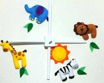 Felt Baby Crib Mobile Pattern. Jungle Safari Animals Mobile. DIY Sewing Pattern PDF. Includes elephant, lion, giraffe, zebra.