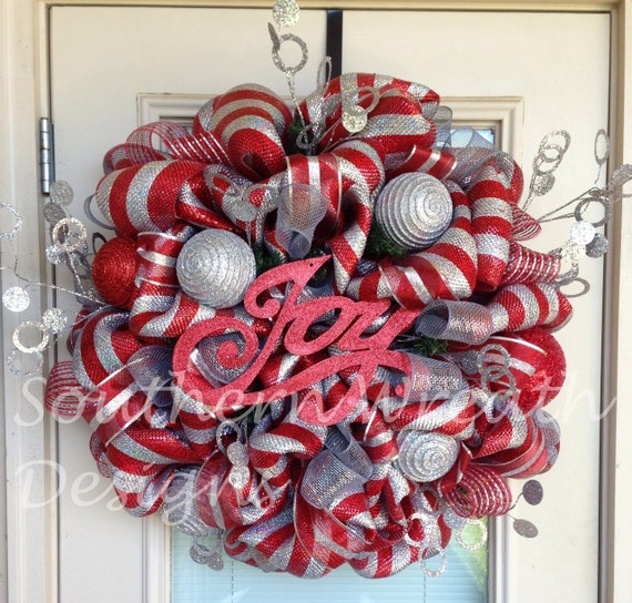 Reduced Christmas Decorations: REDUCED Joy Silver And Red Christmas Wreath