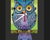 Owl Clock with Swinging Tail Pendulum, Purple, Blue, Green