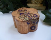 Pyrographed (wood burned) Flower Shape Box w/free flowing 3D circles purple / green paint