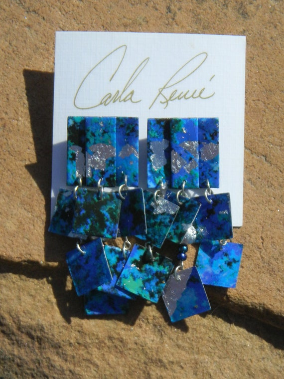 Vintage Carla Renee Hand Painted Paper Mache Multi-Color Abstract Styled Earrings