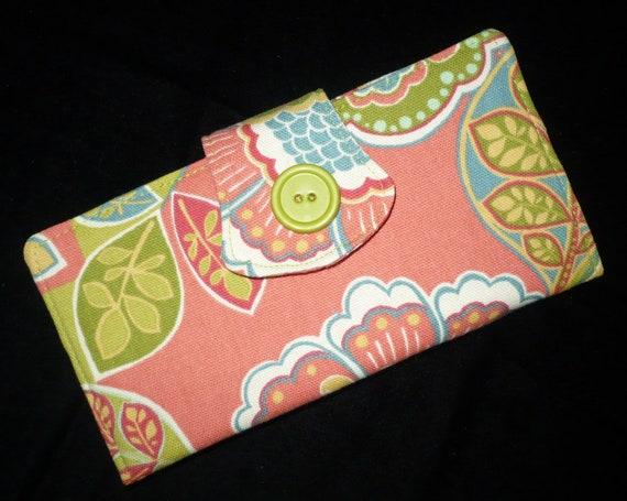 Summer Womens Bi Fold Wallet w 2 Zippers, Corals & Lime green, handmade