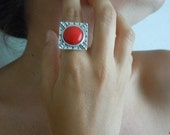 Ottoman Modern Metal Ring With Red Bead-Fashion Jewelry-2012 Trends-Fashion All Season