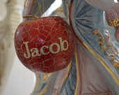 Twilight Jacob Themed Red and gold glitter crackle apple ornament