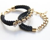 Chunky Bracelets Set - Arm party - Black Bling and 24k gold plated