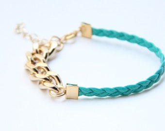 ON SALE: Arm Candy - Gold chunky chain with Green Leather braid Bracelet - 24k gold plated