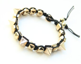 on sale! Arm candy - Gold Spikes beads and Black cord - woven bracelet