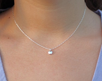 SIMPLE DROP NECKLACE - sterling silver tiny round drop/dot necklace