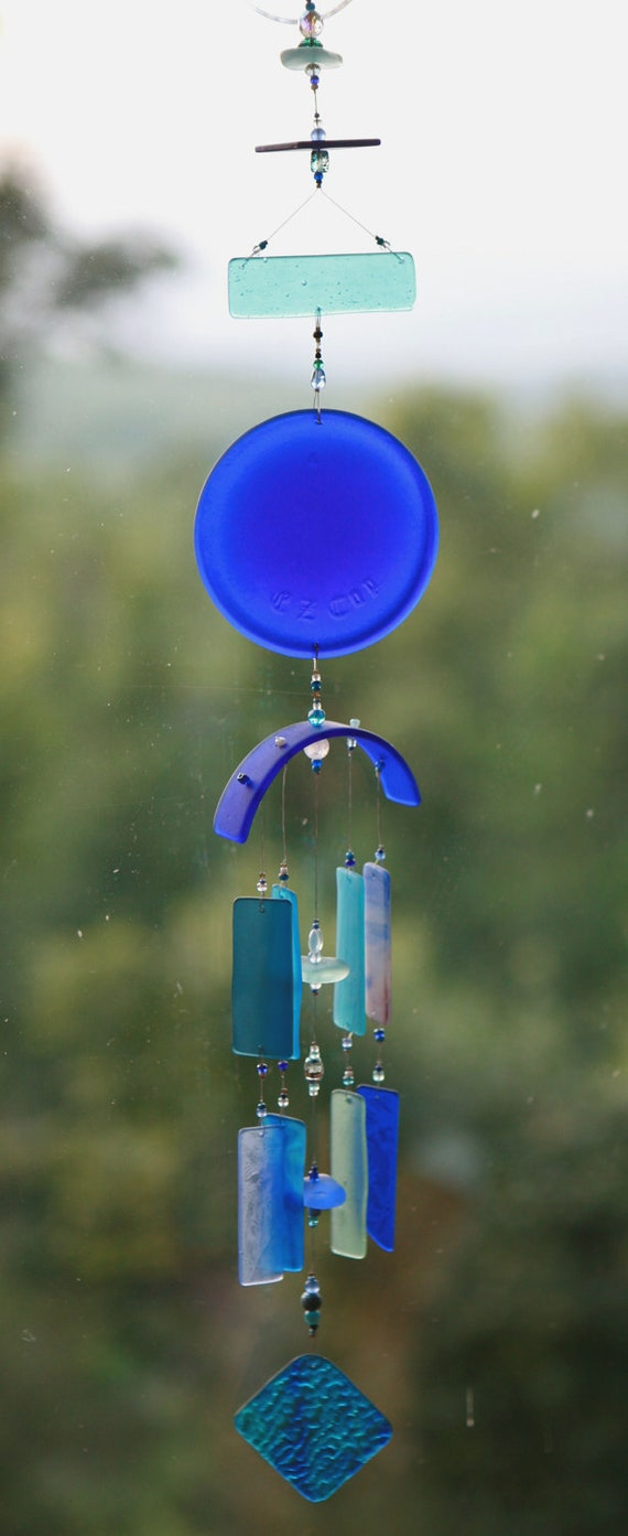 blue lagoonrecycled beach glass wind chime one of a